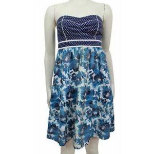 UO Kimchi Blue blue floral strapless dress Sz 2